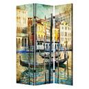Benjara BM205401 Foldable 3 Panel Canvas Screen with Venice Passage Print, Multicolor