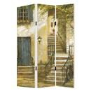 Benjara BM205403 Foldable 3 Panel Canvas Screen with Europe Promenade Print, Multicolor