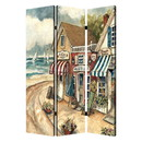 Benjara BM205404 Foldable 3 Panel Canvas Screen with Seaside Town Print, Multicolor