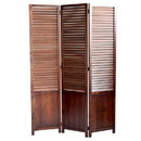 Benjara BM205415 Traditional Foldable Wooden Shutter Screen with 3 Panels, Brown
