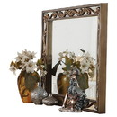 Benjara BM205581 Rectangular Wooden Mirror with Raised Scrolled Inlays, Gold and Silver