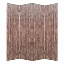 Benjara BM205777 Textured and Bark Designed Wooden 4 Panel Room Divider , Natural Brown