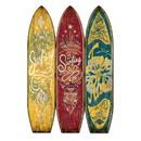 Benjara BM205779 Beach Themed Surfboard Shaped 3 Panel Wooden Room Divider, Multicolor