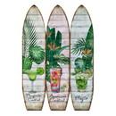 Benjara BM205781 Surfboard Shaped Palm Leaf and Drinks Print 3 Panel Room Divider, Multicolor