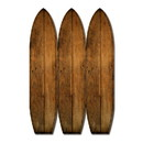 Benjara BM205782 Plank Style Surfboard Shaped 3 Panel Wooden Room Divider, Brown