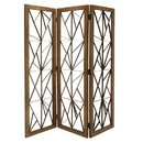 Benjara BM205789 Wooden Handcrafted 3 Panel Room Divider with Intricate Iron Design, Brown