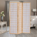 Benjara BM205800 Wooden 3 Panel Room Divider with Shoji Paper Inserts, Brown and White