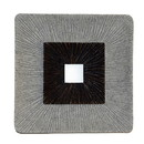 Benjara BM205833 Square Shaped Wall Decor with Ribbed Details, Small, Brown and Gray