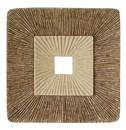 Benjara BM205838 Square Sandstone Wall Decor with Ribbed Details, Large, Brown and Beige
