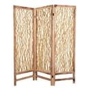 Benjara BM205856 Contemporary 3 Panel Wood Screen with Vertical Branch Design, Brown