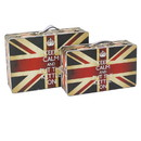 Benjara BM205924 Suitcase with Union Jack Print Canvas Upholstery, Multicolor, Set of 2