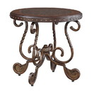 Benjara BM206145 Round End Table With Nailhead Accented Top and Scrolled Base, Brown
