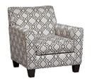 Benjara BM206469 Fabric Upholstered Accent Chair with Quatrefoil Print, Gray and White