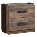 Benjara BM206506 Industrial Style Wooden Nightstand with 2 Drawers, Weathered Brown