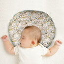 Benjara BM206760 C Shaped Polyester Upholstered Baby Nursing Pillow with Animal Print, Multicolor