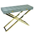 Benjara BM206799 Wood and Metal Folding Console Table with 2 Drawers, Gray and Gold