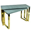 Benjara BM206807 Rectangular Wood and Metal Console Tables, Gray and Gold, Set of 2.