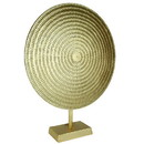 Benjara BM206866 Metal Disc Table Decor with Textured Details, Gold