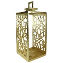 Benjara BM206871 Metal Lantern with Geometric Cutout Design, Gold