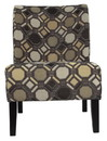 Benjara BM207161 Fabric Upholstered Wooden Accent Chair with Celtic Knot, Multicolor