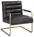 Benjara BM207169 Metal and Faux Leather Accent Chair with Cantilever Style Base, Gold and Black