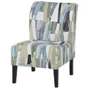 Benjara BM207212 Wooden Armless Accent Chair with Patterned Fabric Upholstery, Multicolor