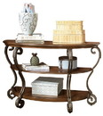 Benjara BM207226 Wood and Metal Sofa Table with Acanthus Leaf Carvings, Brown and Bronze