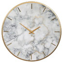 Benjara BM207247 Round Metal Wall Clock with Faux Marble Background, Gold and White