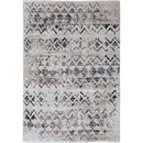 Benjara BM207814 90 X 63 Inches Fabric Power Loomed Rug with Chevron and Diamond Print, Beige and Gray