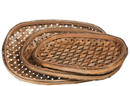 Benjara BM208685 Classic Style Oval Tobacco Basket with Weave Pattern, Set of 3, Brown