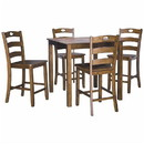 Benjara BM209252 5 Piece Counter Height Set with 1 Square Table and 4 Chairs in Brown