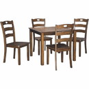Benjara BM209253 5 Piece Dining Set with 1 Square Table and 4 Curved Back Chairs, Brown