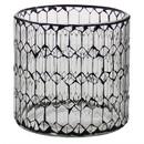 Benjara BM209744 Hand Cut Glass Hurricane with Mosaic Pattern, Medium, Black and Clear