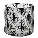 Benjara BM209745 Hand Cut Glass Hurricane with Ikat Pattern, Medium, Black and Clear