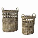 Benjara BM209837 Round Shape Woven Rattan Umbrella Basket with Handles, Set of 2, Gray