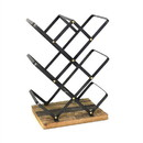 Benjara BM209838 Industrial Style Criss Cross Wine Rack with Wooden Base, Black and Brown