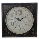Benjara BM209970 Round Wall Clock with Square Wooden Frame, Brown and White