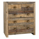 Benjara BM210335 5 Drawers Wooden Frame Dresser with Grains and Knots, Distressed Brown