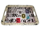 Benjara BM210378 Rugged Designed Tray with Typography Print and Curved Edges, Multicolor