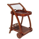 Benjara BM210445 Slatted Shelf Serving Foldable Tray Stand with Wheels, Brown