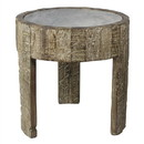 Benjara BM210541 Wooden Hand Engraved 3 Legged Round Side Table with Marble Top, Brown