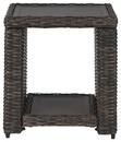 Benjara BM210785 Handwoven Wicker End Table with Open Shelf, Brown and Black