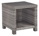 Benjara BM210786 Handwoven Wicker End Table with Plank Style Top and Metal Frame, Gray