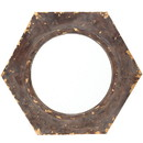 Benjara BM211048 Rustic Style Wooden Wall Mirror with Hexagonal Frame, Silver and Brown