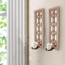 Benjara BM211052 Rectangular Wood Candle Holder with Floral Lattice Design, Set of 2, Brown