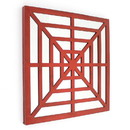 Benjara BM211074 Wooden Wall Decor with Concentric Square Design on Top, Red and Silver