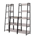 Benjara BM211104 Wooden Bookshelf with 5 Open Compartments in Washed White and Black