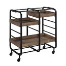 Benjara BM211118 Metal Frame Serving Cart with 3 Open Storage and Casters, Brown and Black