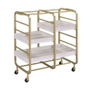 Benjara BM211119 Metal Frame Serving Cart with Adjustable Compartments, Gold and Washed White