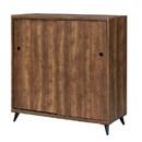 Benjara BM211129 Wooden Shoe Cabinet with 2 Sliding Doors and Splayed Legs, Oak Brown